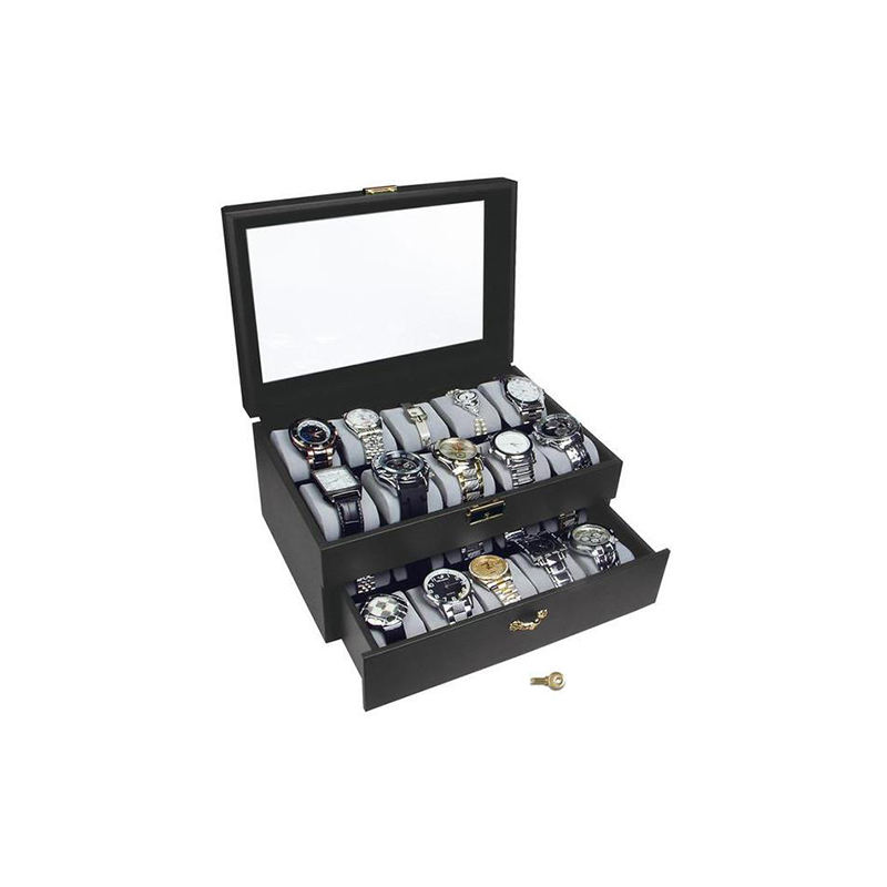 36 Slots Cherry Polished Wooden Display Box For Watch Collection