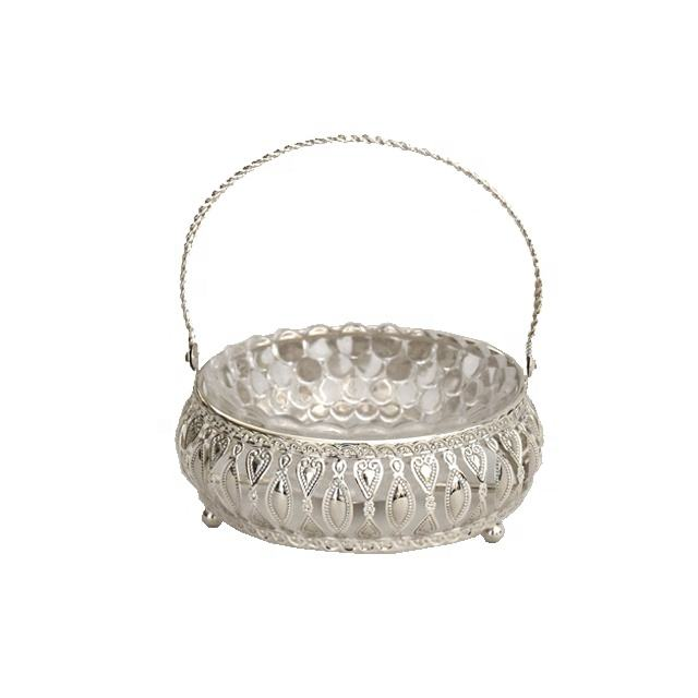 Home table decoration metal silver frame glass sugar nut bowl with handle