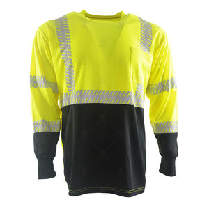 100% polyester bird-eyes fabric breathable long sleeve hi vis reflective t shirt safety workwear with pocket