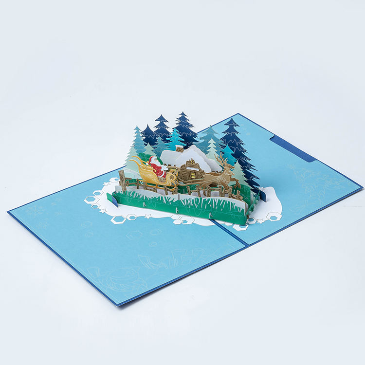 3D pop-up paper process for printing blue Santa cards with deer