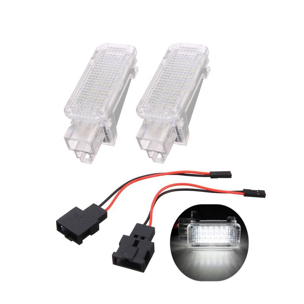 2x 12V Car LED Courtesy Door Projector Light For Audi A3 A4 A6 Foot Nest Lights Ghost Shadow Light Lamp 6500K White
