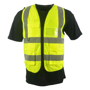 Hot sale stock or customs construction high visibility reflective vest with multi-functional pockets roadway safety