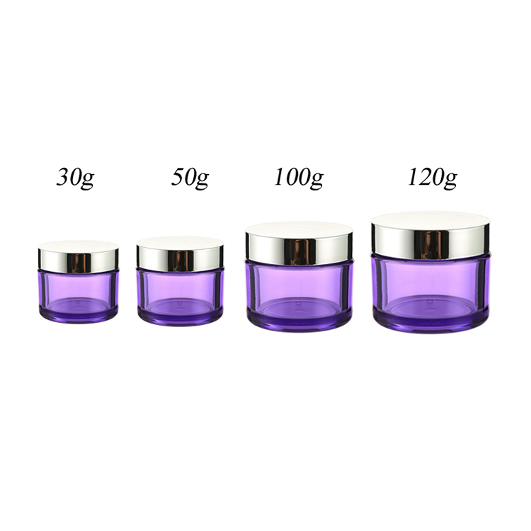 30G 50G 100G 120G Purple Round Luxury Petg Plastic Cosmetic Cream Jar With Silver Cap