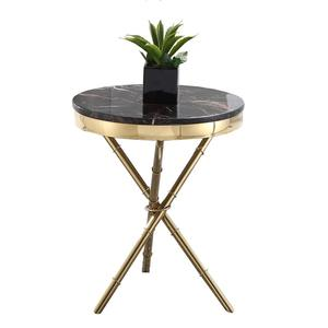 Luxury home furniture golden stainless steel marble top round accent lamp table side table for modern living room