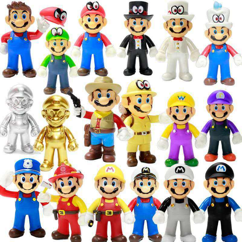 high quality anime figure mario bros vinyl collectible figure game super mario bros odyssey action figure toys for gifts