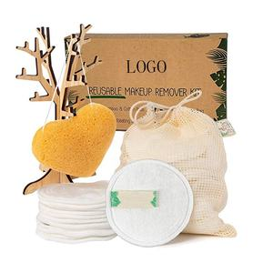 Factory Price Organic Sanitary Reusable Washable Bamboo Makeup Remover Cotton Face Pads Brush Set
