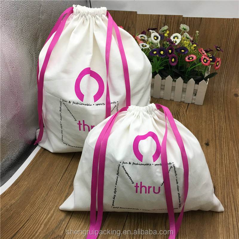 Half Bleached White Twill Cotton Women Handbag Dust Bags With Pink String