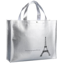 Aluminium foil silver shopping non-woven promotion tote bag  metallic finish silver laminated non-woven tote bag extra large bag