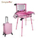 Travel trolley led rolling large beauty makeup case with lighted mirror