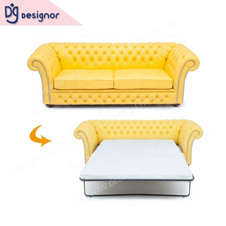 DG Bright Yellow Colored Functional French Classic Chesterfield Sleeper Sofa Bed European