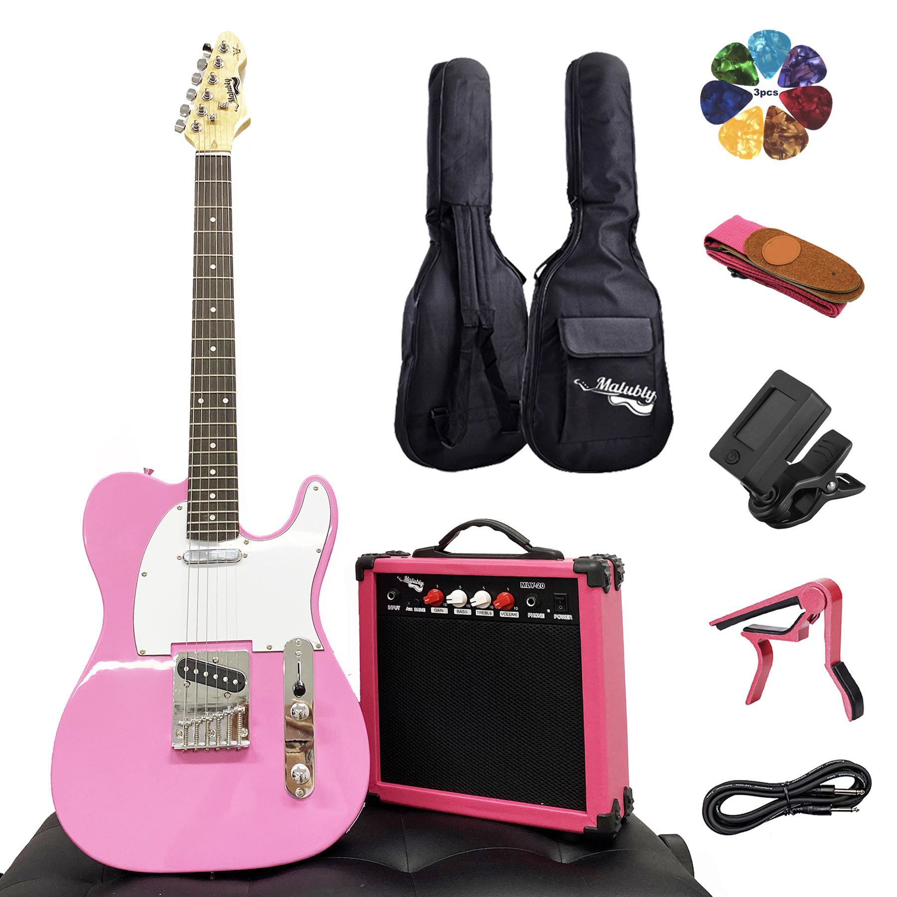 Hot Sale Pink Guitar Set TL Electric Guitar with 20 Watt Amplifier Tuner Capo Gig bag Strap Picks