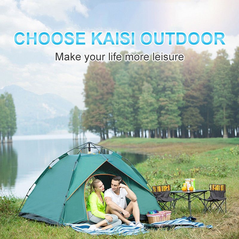 Outdoor Camping Waterproof Pop Up 3-4 Person Tent Double Automatic Party Tent