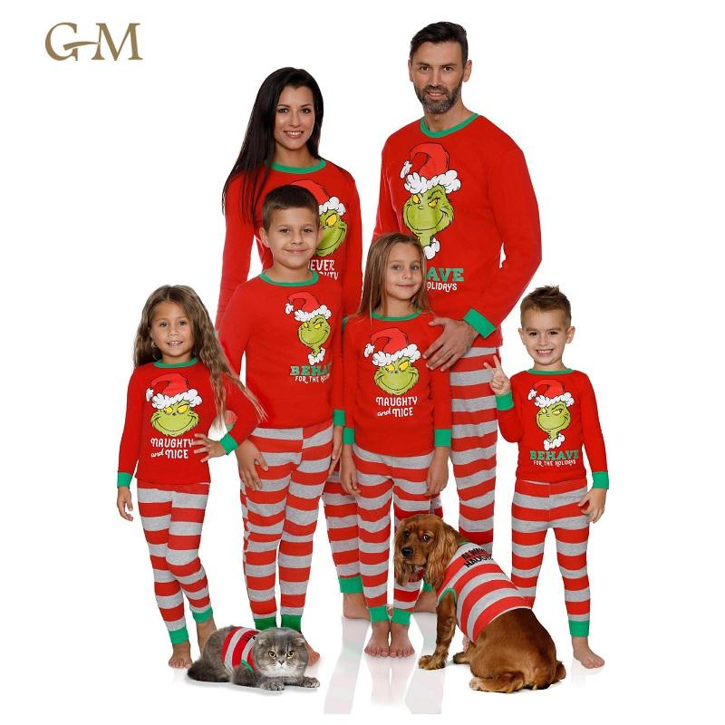 Custom logo Green and red stripe cotton christmas pajamas