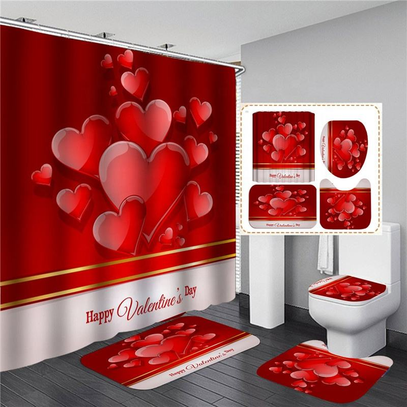 Hot Sale 3D Red Heart Shower Curtain Set 4PCS Bathroom Set with Carpet Rugs Mats