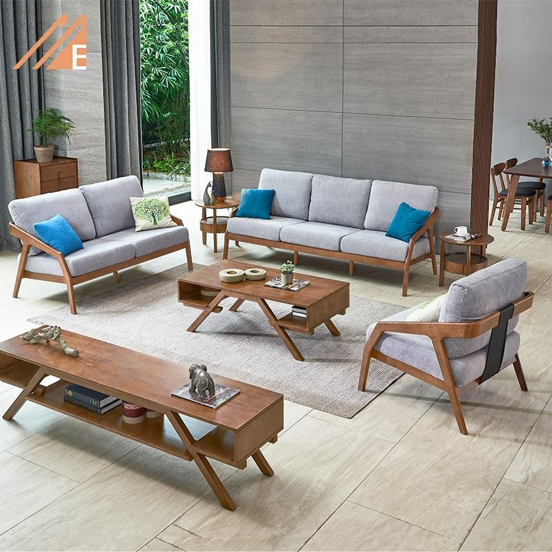 Modern Simple Wood Frame Fabric Sofa Set Living Room Furniture