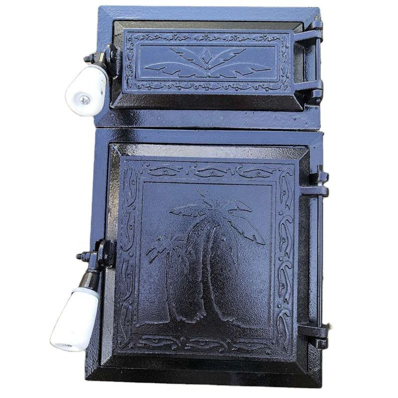 Grey cast iron wood stove double doors