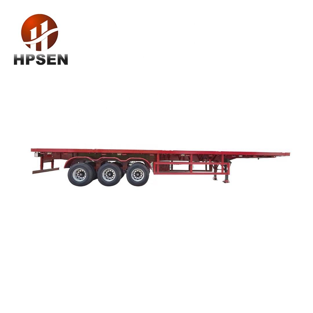 40ft 50ft 60ft Container Lock Truck 12m Load Capacity 3 Axle Flatbed Semi Trailer