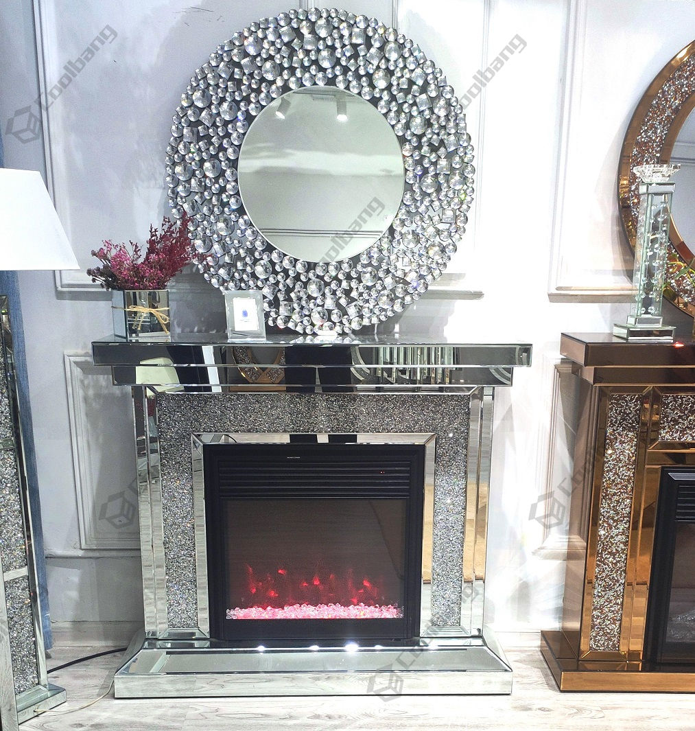 Crushed Diamond Furniture Living Room LED Electric Mirrored Fireplace
