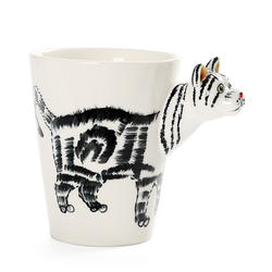 Cute 3D Hand-Painted Milk Tea Coffee Ceramic Animal Mug,Cat Style