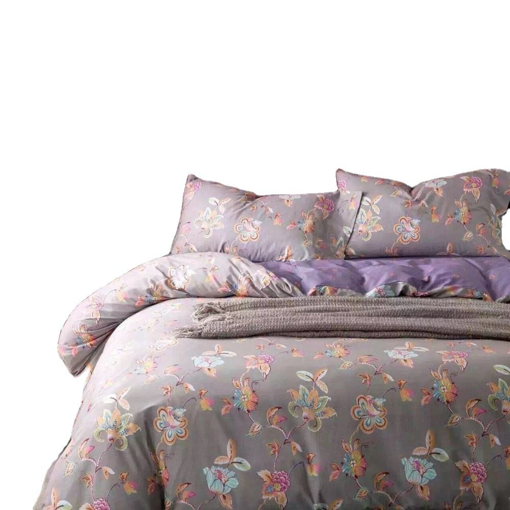 Vintage design flower print polyester queen size 3d bed sheet cover bedding set