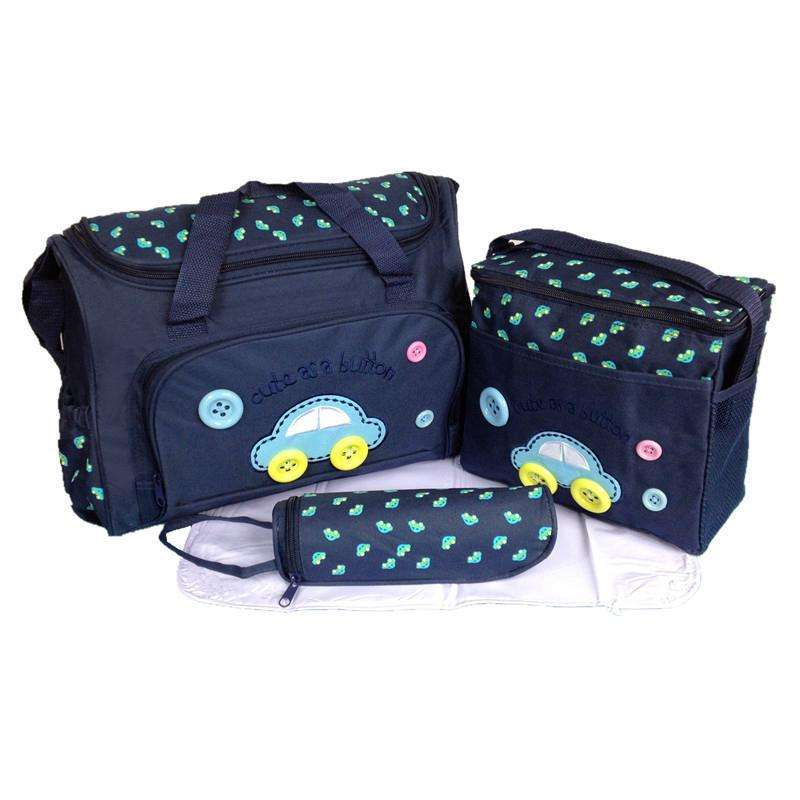 4pcs Cute Embroidery Mummy Diaper Bag With Changing Mat Bottle Bag