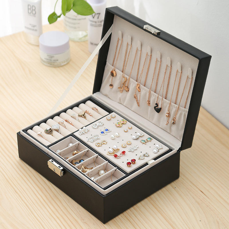 2021 New Double-Layer Jewelry Box European Jewelry Storage Box Large Space Jewelry Holder Gift Box