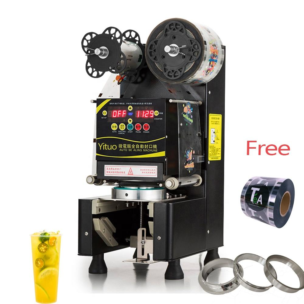 High quality Fully Automatic plastic cup sealing machine With bubble tea equipments