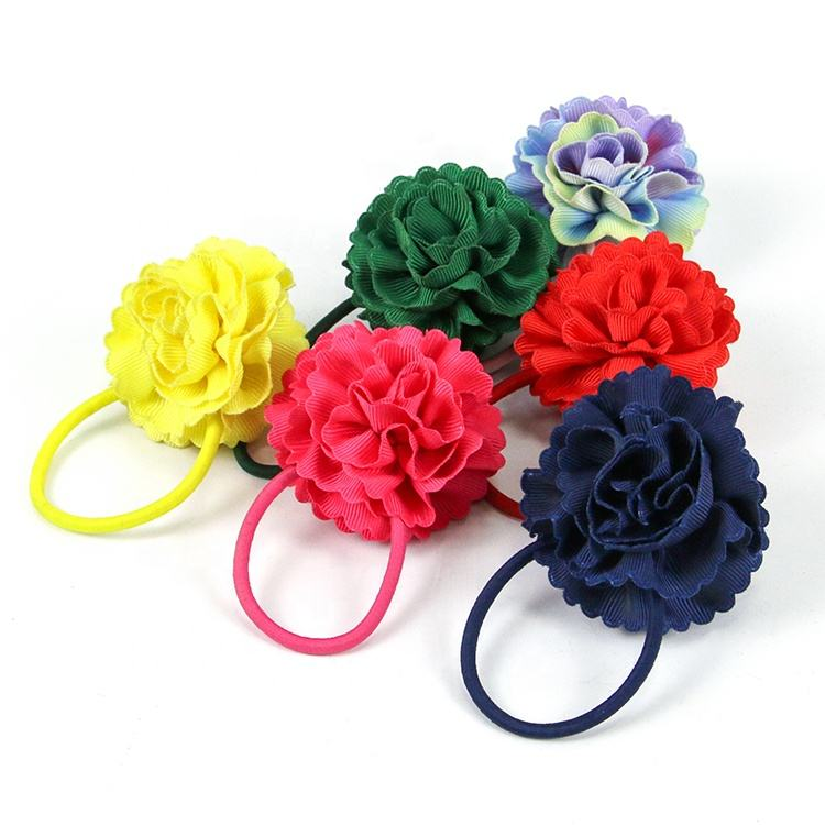 Wholesale customized cute children girls elastic polyester color flower hair tie