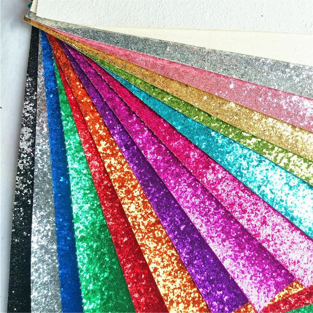 Sparkly Shiny Synthetic Vinyl PU Glitter Fabric Sheets Chunky Faux Leather For Shoes Bags Bow Crafts
