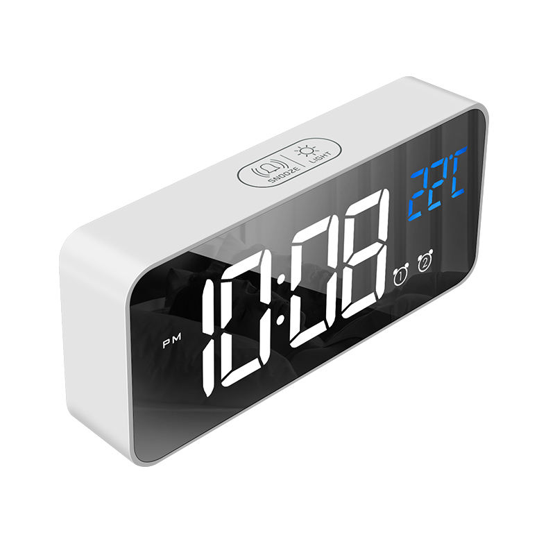 LED Digital Alarm Clock, F-8808 USB Charging Mirror Clock with Adjustable Brightness & Volume 25 Music for Home Bedroom Office