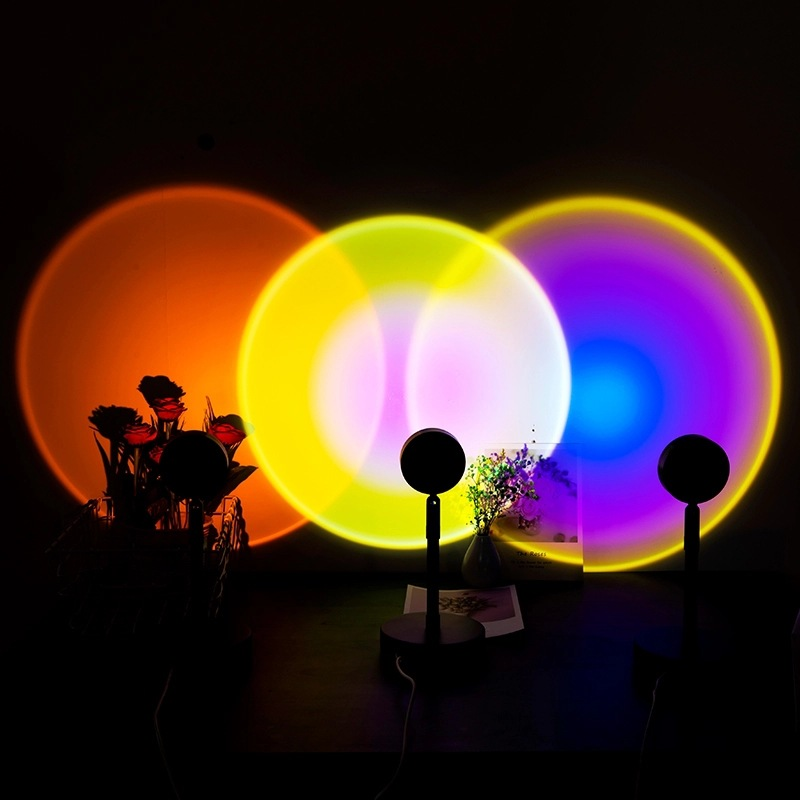 Mini light Bedroom living room Background Decoration Modern Round Photo Props LED Projection Sunset Floor Lamp
