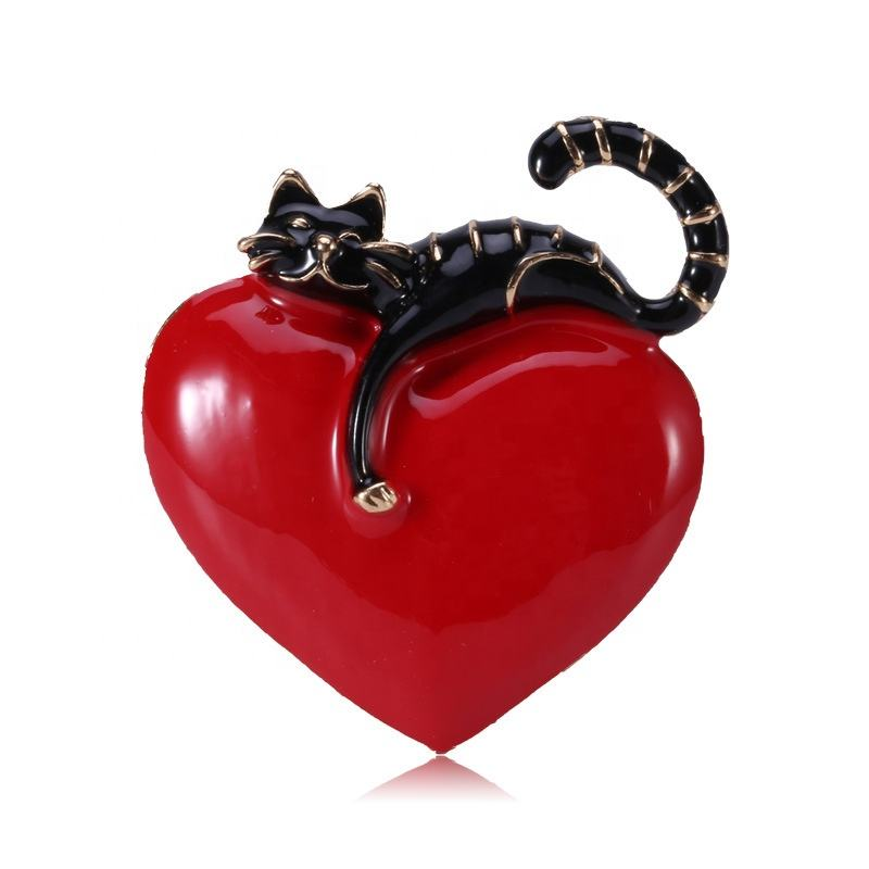 Sunsky Factory Outlet America Hot Sale Love Cat Brooch for Women Girls Wedding/Banquet/Birthday Party
