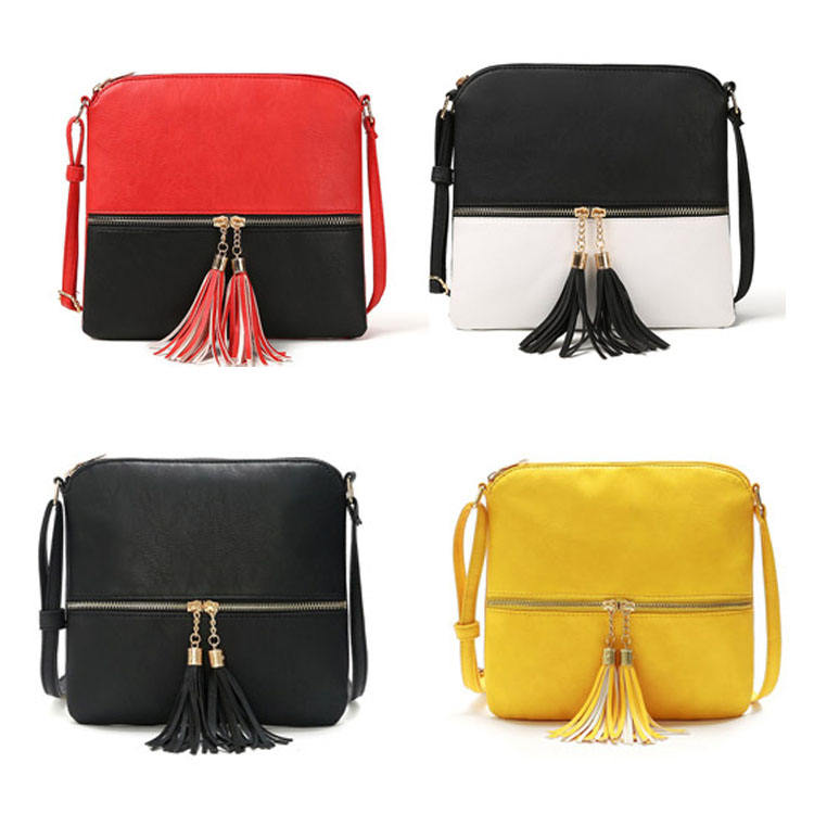 Women PU leather Trendy Adjustable strap ladies custom leisure crossbody messenger bag with tassel