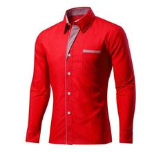 Red shirts covered button plaid pattern placket casual fashion long sleeve slim shirts for men