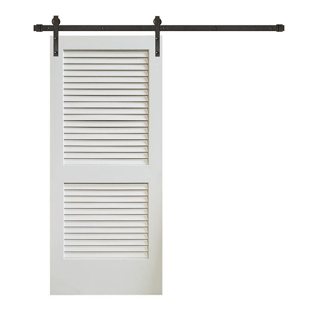Internal 36 x 84 Plantation Louver 2 Panel Primed Wooden Barn Door with Sliding Door Hardware Kit