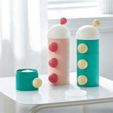 KUB cute mushroom portable airtight travel milk powder container 3 layers infant formula dispenser baby food storage grid box