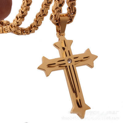 Cross Pendant Necklace for Men Stainless Steel Chain Mens Necklaces Paved Clear Rightstones Gold Silver Tone