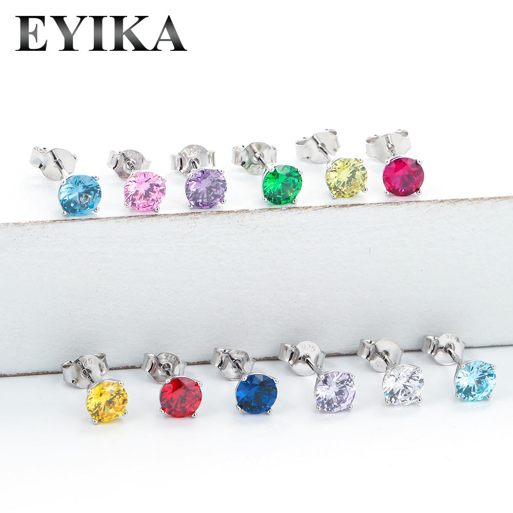 Wholesale Jewelry 925 Sterling Silver Cubic Zirconia Birthstone 5mm Custom Single Colorful Stone Stud Earrings