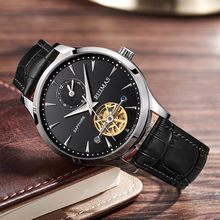 Men's Automatic Mechanical Watch Leather Strap Classic Watch Chronograph Business Watch