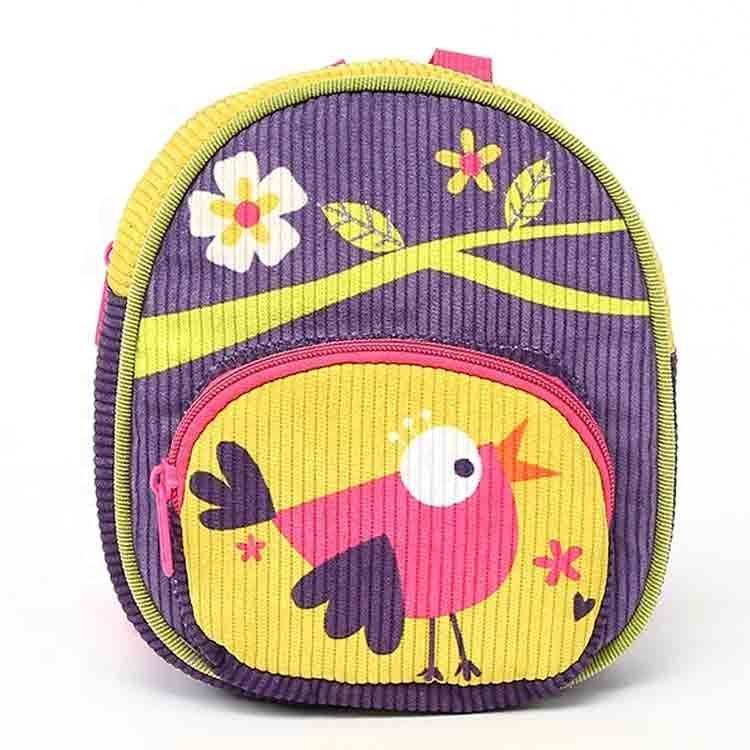 ECO friendly children kids backpack with a printed bird