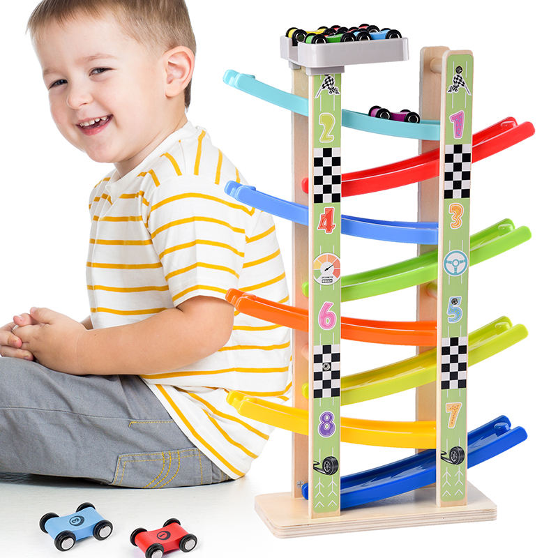 high quality race track games car race game wooden toys for kids educational 8 layers ramp wooden toy cars
