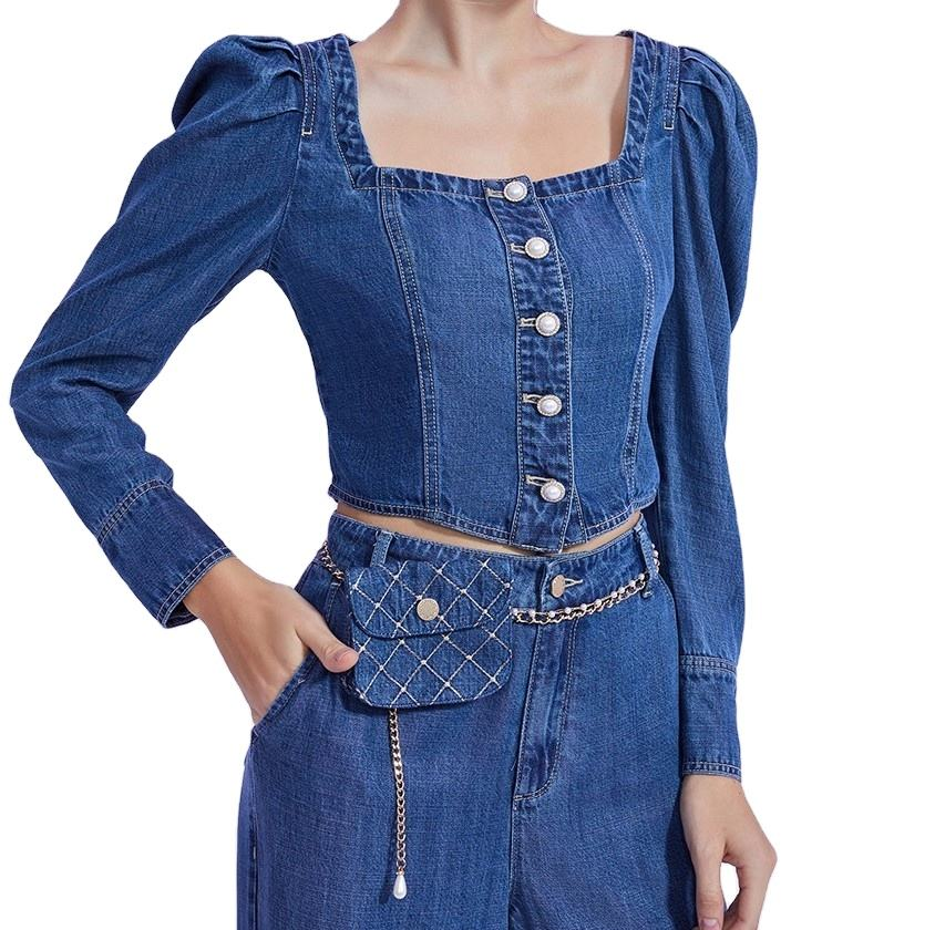 OEM ODM Custom denim tencel blouse women button down shirt blouse