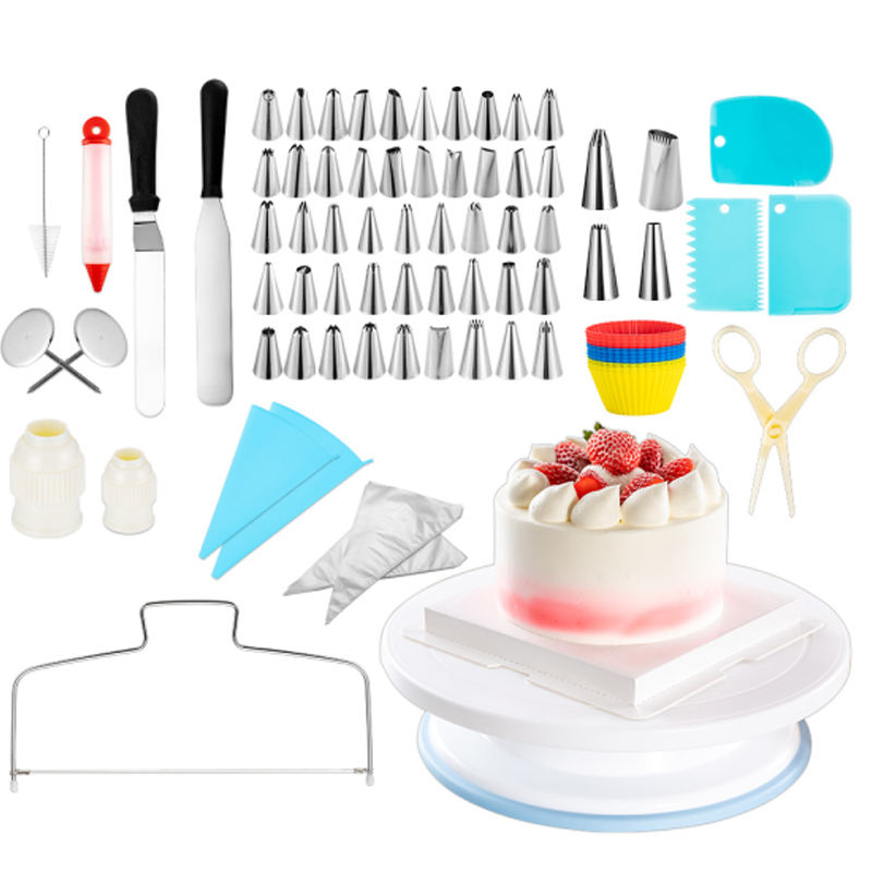 Cake Decorating Kit Turntable 106 pcs Baking Set Turntable Cake Stand Bake Kit with Cake Decorating Tips Accessories Decorations