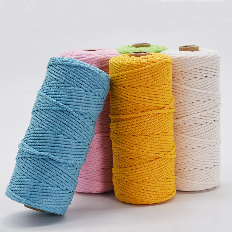 3mm thick 100 meters long color cotton cord decoration, bundling, knitting rough DIY clothing accessories Decorative rope