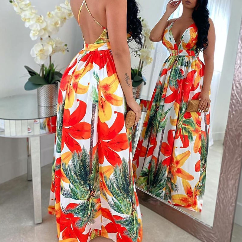 YSK2405 --Floral Print Backless Maxi Dress for women