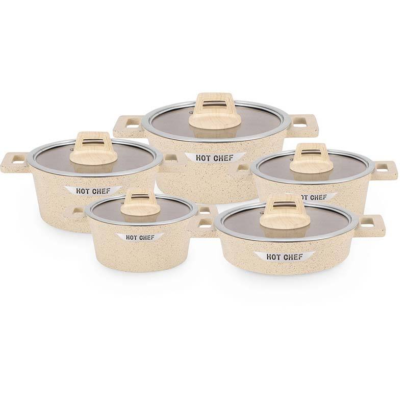 cream color Die cast aluminum casserole soup pot cookware sets