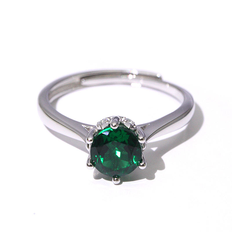 Vintage Round emerald jewelry simple wedding solitaire silver rings for girls