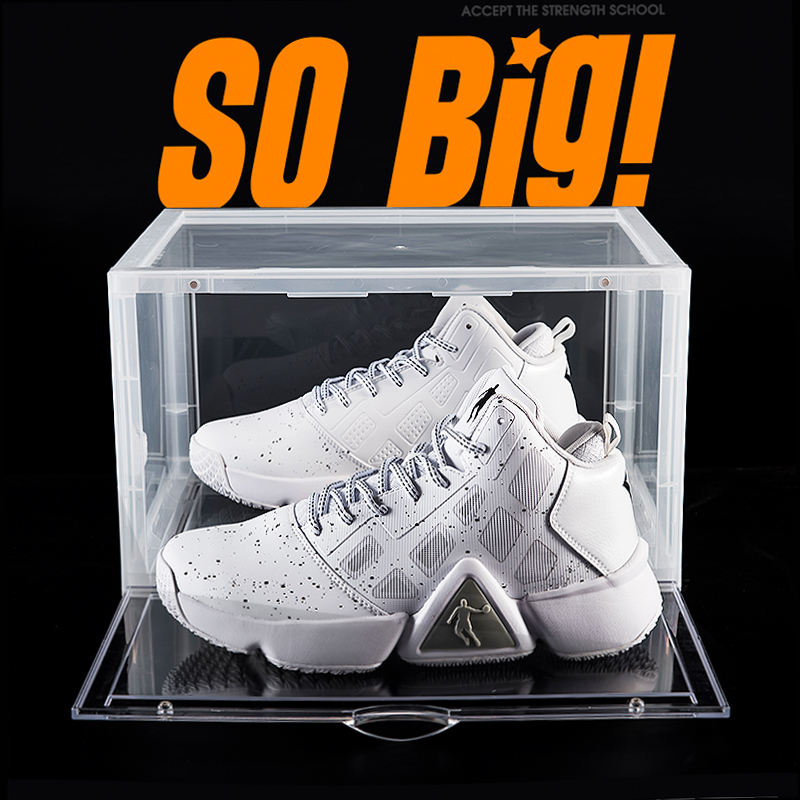 Amazon Hot Selling Side Open Door Steady Stacking Custom Logo OEM Nike Giant Black Sneakers Plastic Black Shoe Box