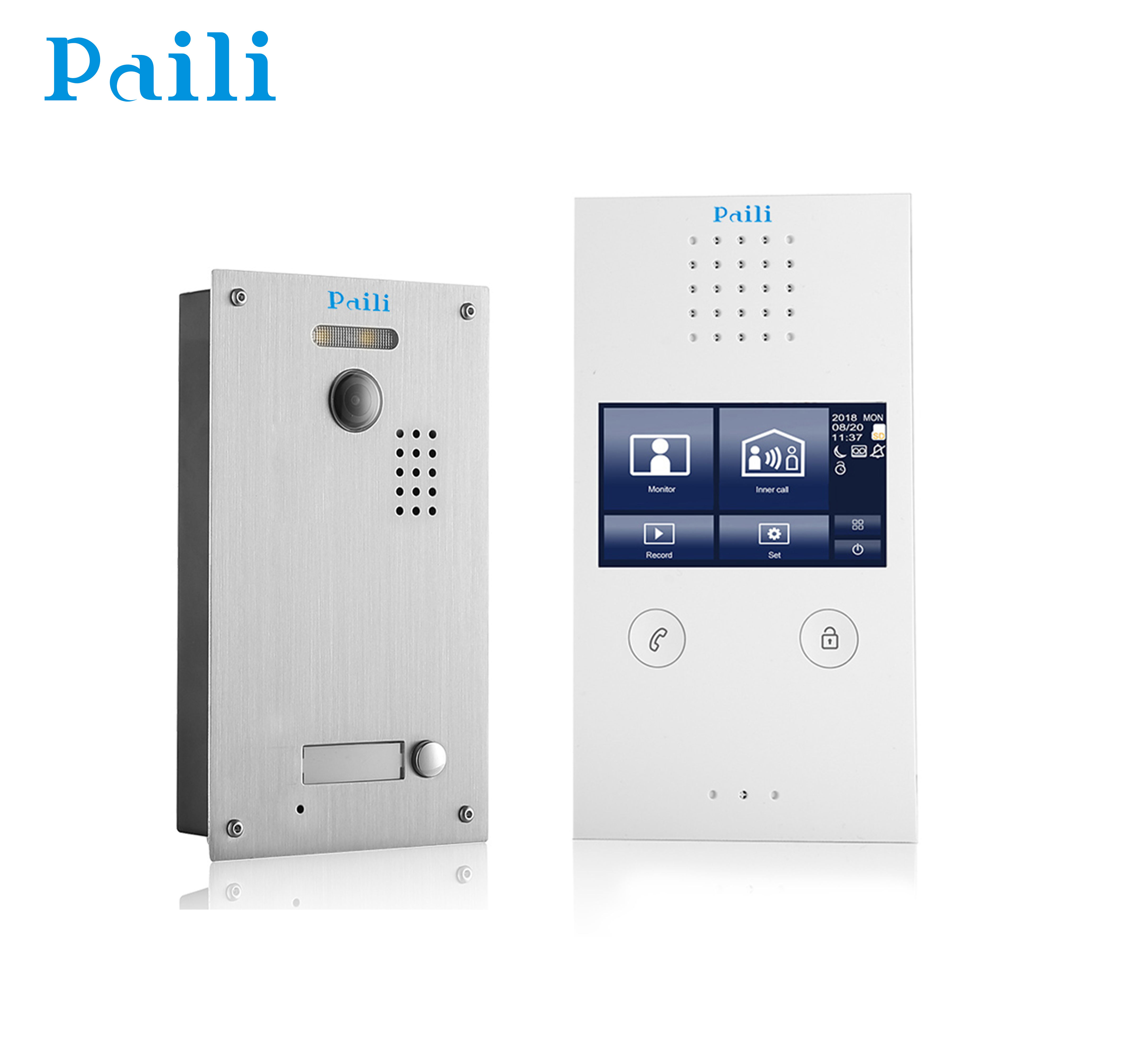 4.3 inch touch screen display Wired Video Door Phone 2 Way Intercom System