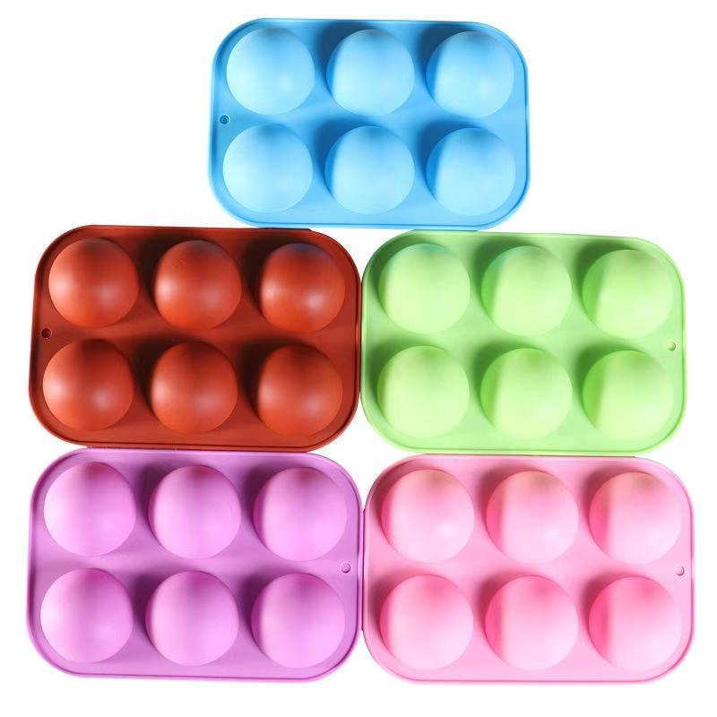 Silicone 6 Holes Domed Round Shape Baking Mold Cake, Hemispherical Chocolate Jelly Pudding Baking Mold